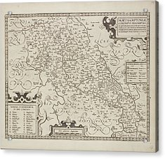 Map Of Northamptonshire Acrylic Print by British Library