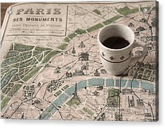 Acrylic Print featuring the photograph Map Of Paris And Demi Tasse by Brooke T Ryan