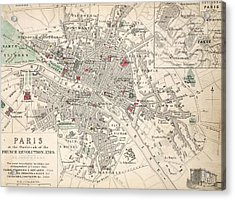 Map Of Paris At The Outbreak Of The French Revolution Acrylic Print by French School