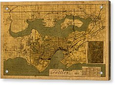 Map Of Seattle Washington Vintage Old Street Cartography On Worn Distressed Parchment Acrylic Print