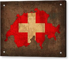 Map Of Switzerland With Flag Art On Distressed Worn Canvas Acrylic Print by Design Turnpike