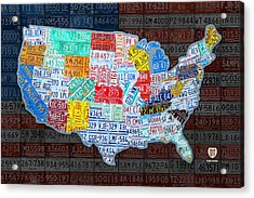 Map Of The United States In Vintage License Plates On American Flag Acrylic Print