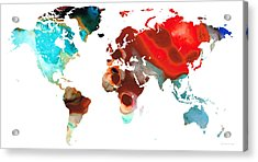 Map Of The World 5 -colorful Abstract Art Acrylic Print by Sharon Cummings