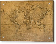 Map Of The World In 1784 Latin Text On Worn Stained Vintage Parchment Acrylic Print