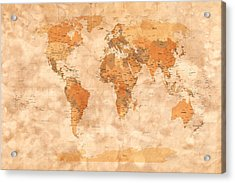 Map Of The World Acrylic Print by Michael Tompsett