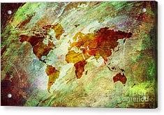 Acrylic Print featuring the digital art Map Of The World by Mohamed Elkhamisy