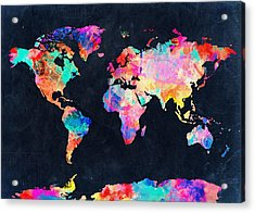 Map Of The World Watercolor 4 Acrylic Print