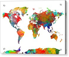 Map Of The World Watercolor Acrylic Print