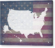 Map Of United States In White Old Paint On American Flag Barn Wood Acrylic Print