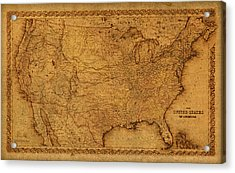 Map Of United States Of America Vintage Schematic Cartography Circa 1855 On Worn Parchment  Acrylic Print by Design Turnpike