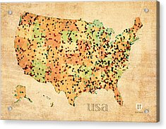 Map Of United States Of America With Crystallized Counties On Worn Parchment Acrylic Print