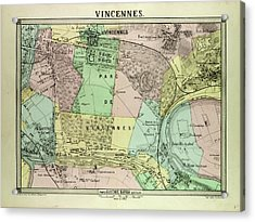Map Of Vincennes France Acrylic Print by French School