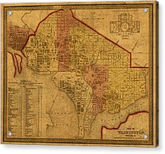 Map Of Washington Dc In 1850 Vintage Old Cartography On Worn Distressed Canvas Acrylic Print by Design Turnpike