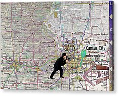 Map Overland Park Kansas Acrylic Print by Liane Wright
