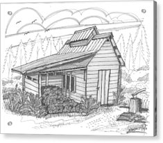 Acrylic Print featuring the drawing Maple Sugar House by Richard Wambach