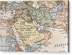 Maps Of Countries In Middle East Acrylic Print by KeithBinns