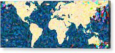 maps pointilism World Map 2 Acrylic Print by MotionAge Designs