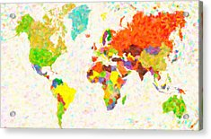 maps pointilism World Map with leaves Acrylic Print by MotionAge Designs