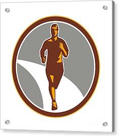 Marathon Runner Front Circle Retro Acrylic Print by Aloysius Patrimonio