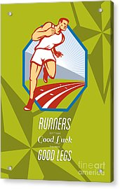 Marathon Runner Race Track Retro Poster Acrylic Print by Aloysius Patrimonio