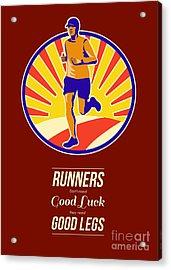 Marathon Runner Retro Poster Acrylic Print by Aloysius Patrimonio