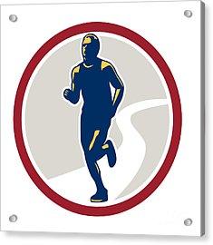 Marathon Runner Running Circle Retro Acrylic Print by Aloysius Patrimonio