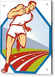 Marathon Runner Running Race Track Retro Acrylic Print by Aloysius Patrimonio