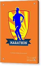 Marathon Runner Starting Run Retro Poster Acrylic Print