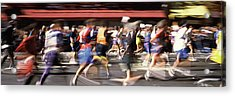 Marathon Runners On The Road, New York Acrylic Print by Panoramic Images