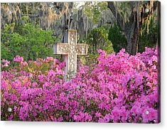 Acrylic Print featuring the photograph Marble Cross And Azaleas by Bradford Martin
