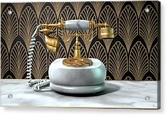 Marble Telephone And Art Deco Scene Acrylic Print by Allan Swart