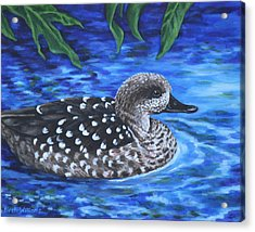 Acrylic Print featuring the painting Marbled Teal Duck On The Water by Penny Birch-Williams