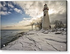 Marblehead In The Snow Acrylic Print by Laura James