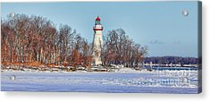 Marblehead Lighthouse In Winter Acrylic Print