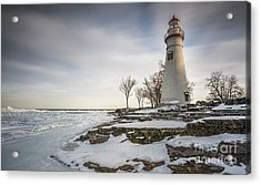 Marblehead Lighthouse Winter Acrylic Print by James Dean