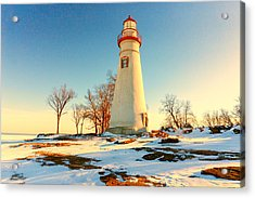 Marblehead Ohio Lighthouse Sun And Snow Acrylic Print
