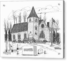 Acrylic Print featuring the drawing Marbletown Church by Richard Wambach