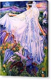 Acrylic Print featuring the painting March Bride With Boxing Hares  by Trudi Doyle