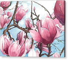 Acrylic Print featuring the painting March Magnolia by Barbara Jewell