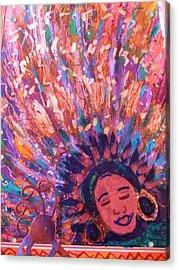 Mardi Gras Girl Revisited Acrylic Print by Anne-Elizabeth Whiteway