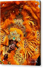 Mardi Gras Indian Orange Acrylic Print