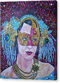 Mardi Gras Acrylic Print by Linda Vaughon