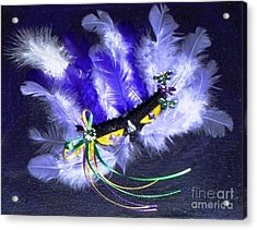 Acrylic Print featuring the painting Mardi Gras On Purple by Alys Caviness-Gober