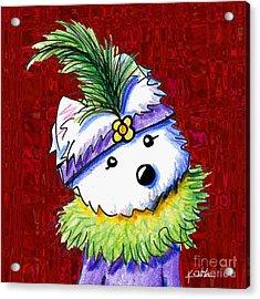Mardi Gras Westie Sur Rouge Acrylic Print by Kim Niles