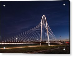 Margaret Hunt Hill Bridge In Dallas At Night Acrylic Print