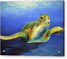 Margie The Sea Turtle Acrylic Print