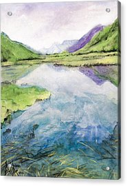 Acrylic Print featuring the painting Margo's Mountains by Ron Richard Baviello