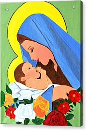 Acrylic Print featuring the painting Maria And Baby Jesus by Magdalena Frohnsdorff