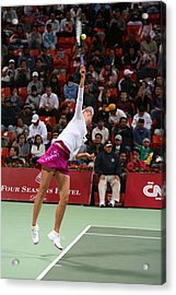 Maria Sharapova Serves In Doha Acrylic Print by Paul Cowan