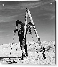 Marian Mckean With Skis Acrylic Print